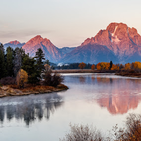 Autumn Morning at Oxbow Bend by Sandra Woods - Landscapes Mountains & Hills ( snake river, wyoming, oxbow bend, sunrise, morning, grand teton national park,  )
