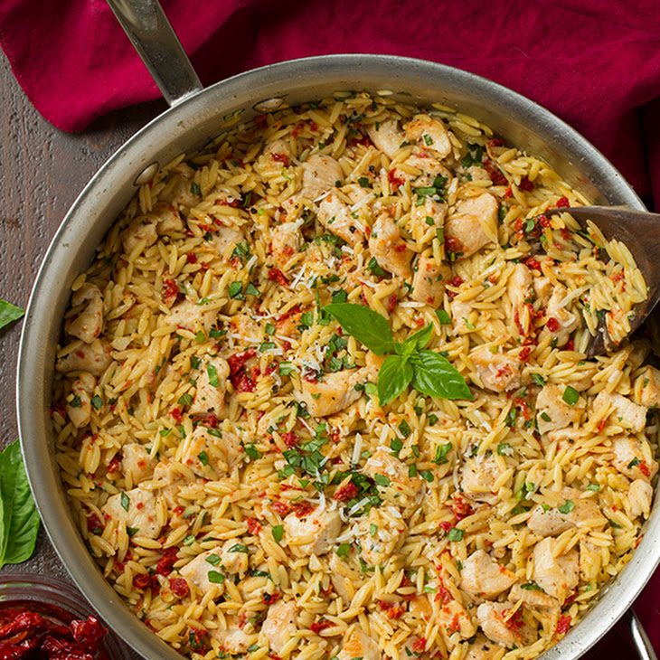Sun Dried Tomato Basil and Parmesan Orzo with Chicken Recipe | Yummly