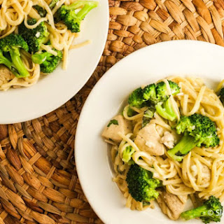One Pot Creamy Parmesan Chicken Broccoli Pasta.