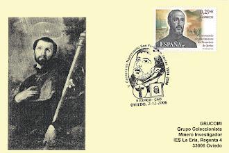 Photo: Matasellos del V Centenario del nacimiento de San Francisco Javier, con el sello de la efeméride emitido por Correos el 7 de noviembre de 2006