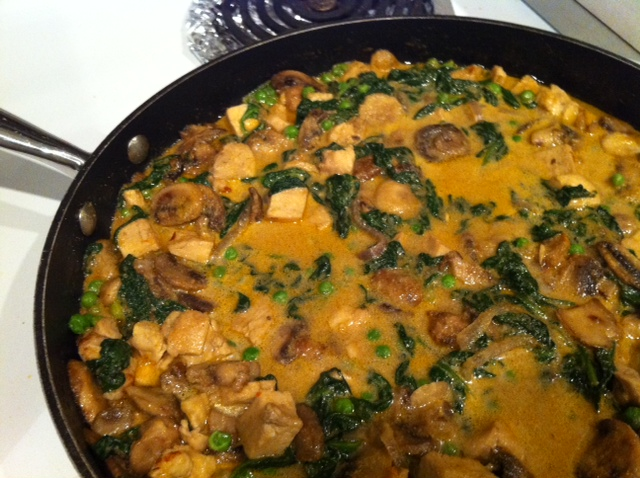 Photo: Chicken and mushroom korma with fresh baby spinach,