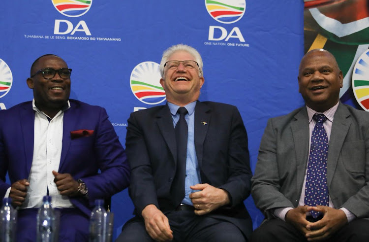 The DA's premier candidate in the Western Cape, Alan Winde, flanked by provincial leader Bonginkosi Madikizela, left, and City of Cape Town mayoral nominee Dan Plato. Picture: ESA ALEXANDER