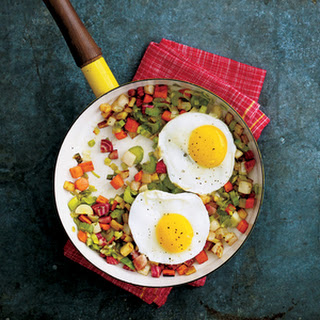 Root Vegetable Hash with Fried Eggs.
