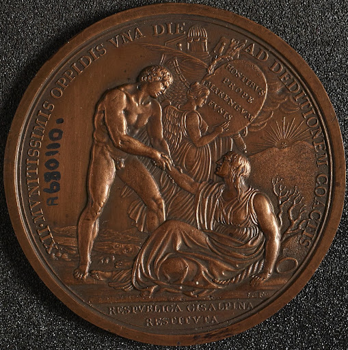Incomplete circular copper medal, commemorates the