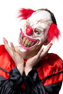 Ansiktsmask Clown med hår, Horror