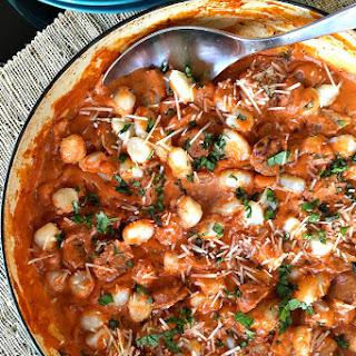 Sausage Gnocchi with Tomato Alfredo Sauce