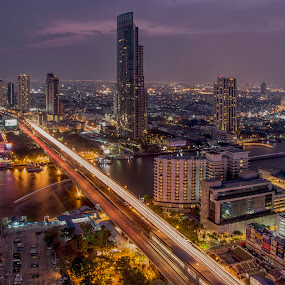 Bangkok night life by Waraphorn Aphai - City,  Street & Park  Skylines ( bangkok, night photography, long exposure, night shot )
