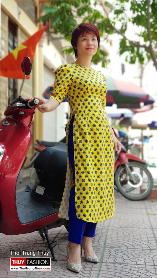 Áo dài cách tân chấm bi màu vàng xanh V704 thời trang thủy quảng ninh