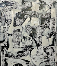 """Photo: Jetty Grace (enamel, charcoal and blueprint paper on canvas) 38.5x44.5"""" 2013"""
