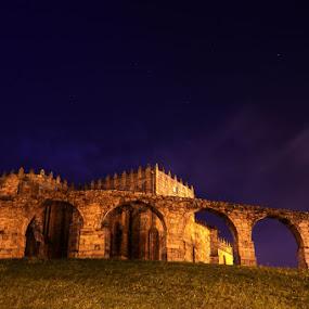 Mosteiro Santa Clara by Night by Marta Felgueiras - Buildings & Architecture Statues & Monuments ( vila do conde, portugal, mosteiro santa clara,  )
