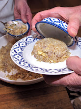 Photo: mounding the rice onto individual serving plate