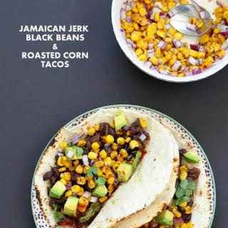 Jamaican Jerk Black Bean Tacos with Roasted Corn Salsa.