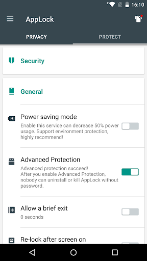 Advanced Protection u261e AppLock 1.7 screenshots 1