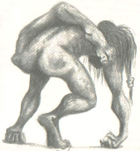 Dibujo del imbunche con su pierna quebrada por la espalda