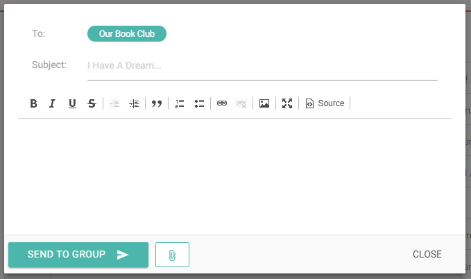 Composing group email with attachments
