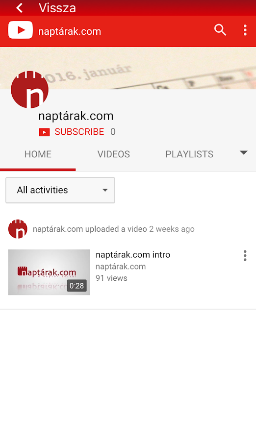 Naptárak.com- screenshot
