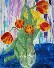 """Photo: Tulips & Daffodils, 2012, 16"""" x 20"""", oil on canvas.  Yesterday I was given fresh flowers, and so I dashed over to the art store and bought a canvas and came home, set up my dining room table, and painted them.  My son really likes these flowers as they are, and so, despite the leaves losing that white scraped line from a distance, I am considering it finished. It is a painting for a small space, a kitchen or hall, meant to be looked at up close.  For me, the painting is about the two extravant, opulent tulips, each offering to bloom outside the canvas."""