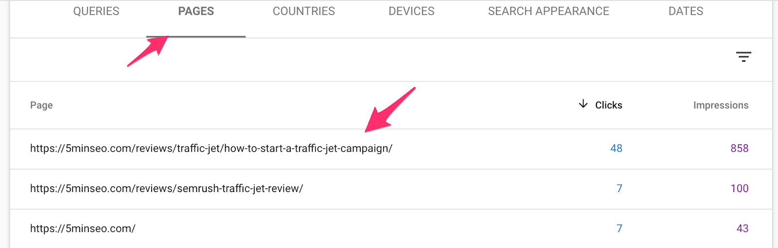 Google Search Console Pages Tab