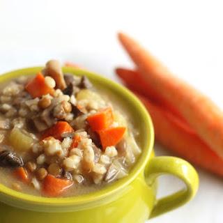 Crockpot Mushroom, Barley, & Lentil Soup Recipe