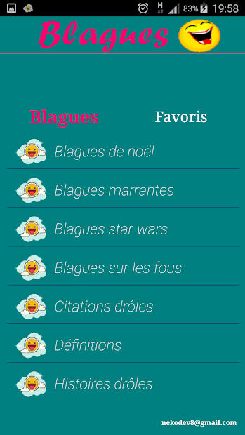 Les Meilleurs Blagues Android App Screenshot