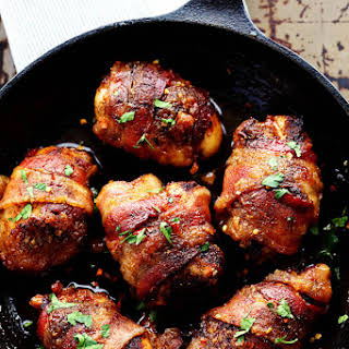 Sweet and Spicy Bacon Wrapped Chicken.