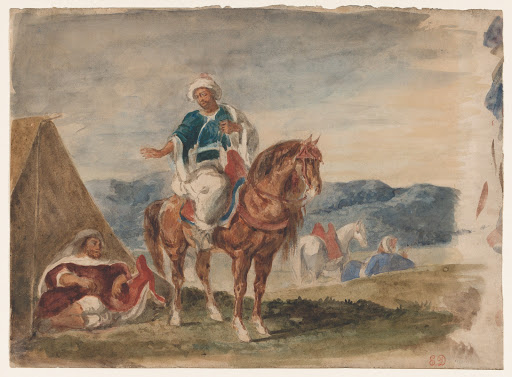 Three Arab Horsemen at an Encampment