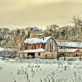 Farm Living Is The Life For Me by Michael Priest - Digital Art Places ( wisconsin, shed, field, barn, snow, farm, winter, cold, ice, trees )