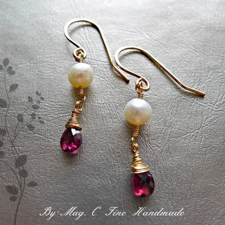 Minimalist Rubelite Garnet Earrings by Heavenly Gems