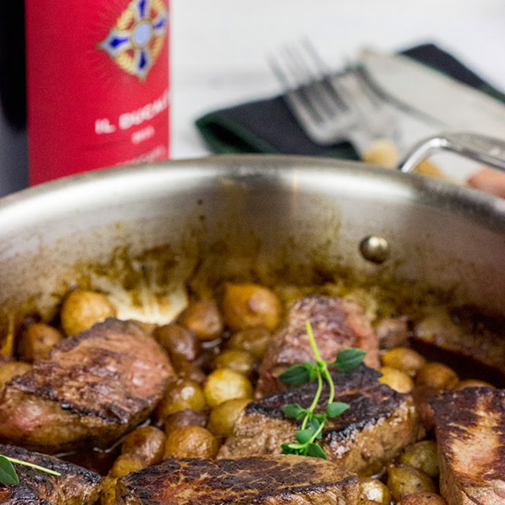 Sauteed Medallions with Pearl Onion Red Wine Sauce Recipe