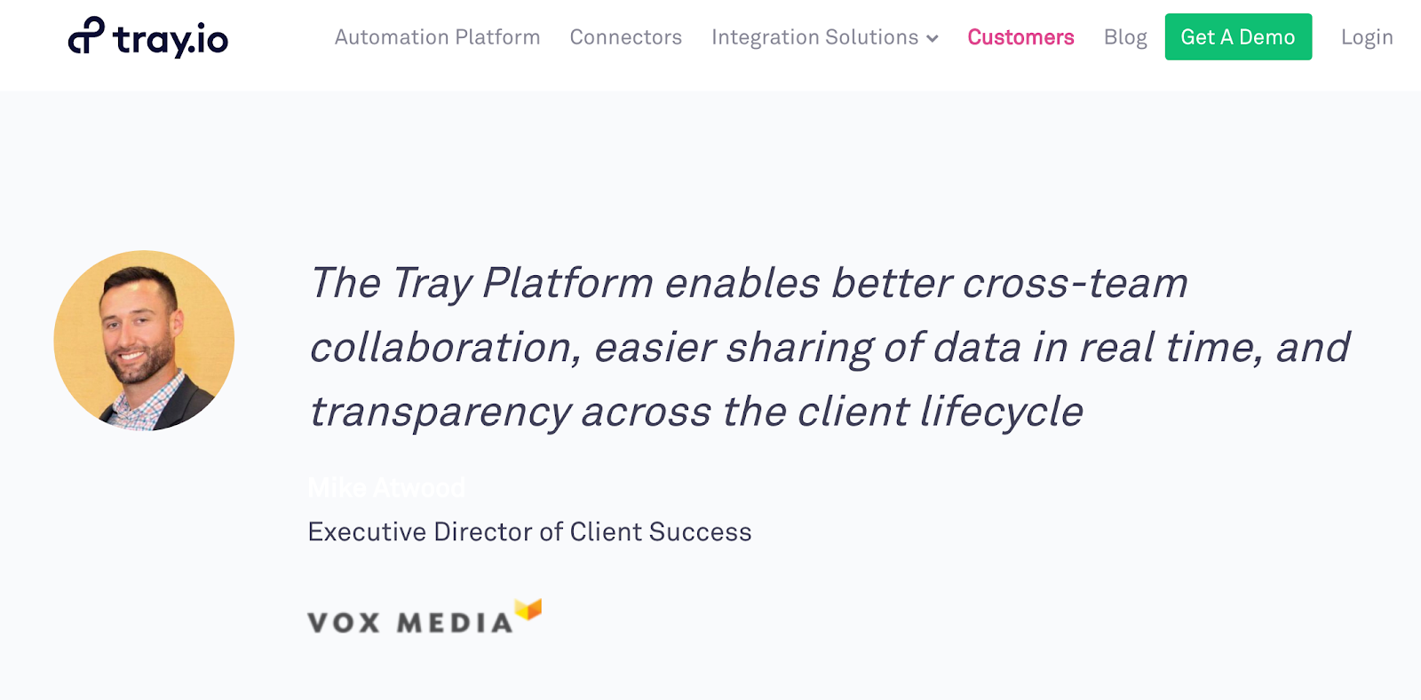 tray.io's customer testimonial.