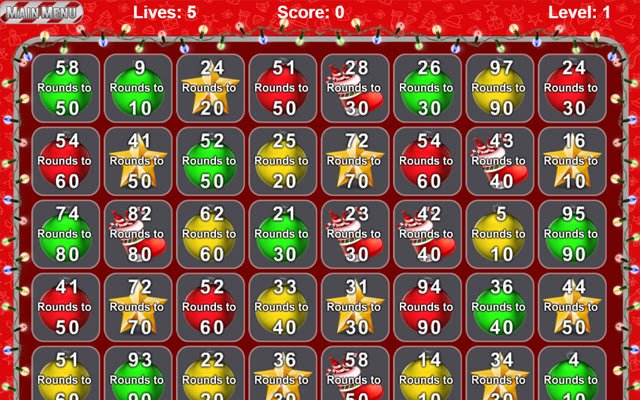 Christmas Number Crunch Rounding Game