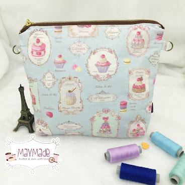‼️清貨‼️粉藍色甜點拉鏈袋配長帶