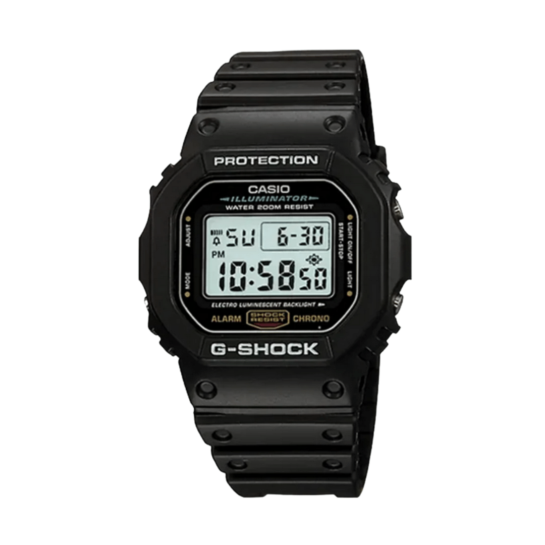 Digital watch from G-shock with black plastic case and strap.