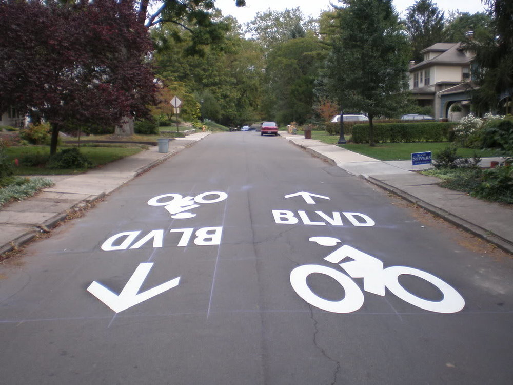 Bicycle Boulevard Markings in Baltimore