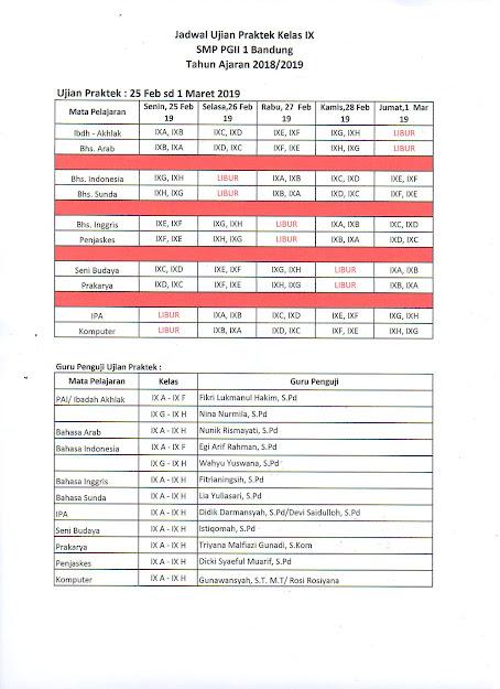 Jadwal Ujian Praktek Kelas 9