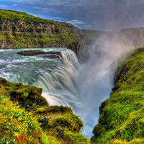 Gullfoss  by Steve Rogers - Landscapes Waterscapes ( waterfalls, hdr, waterscape, ice, beautiful, waterfall, moss, mossy, avalon-art.com, gullfoss )