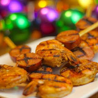 Grilled Cajun Shrimp and Andouille Kebabs.