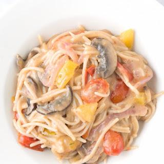Spicy One Pot Gluten-Free Tomato Mushroom Basil Pasta.