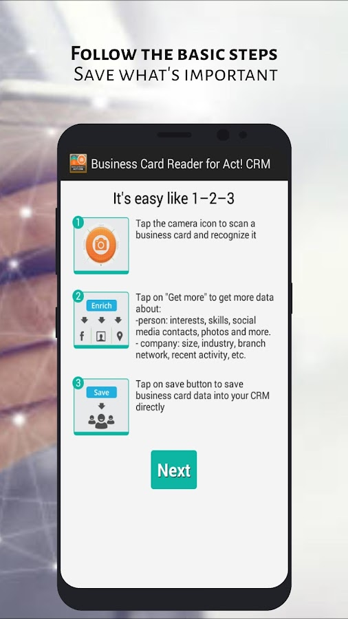 Business Card Reader for Act! CRM- screenshot