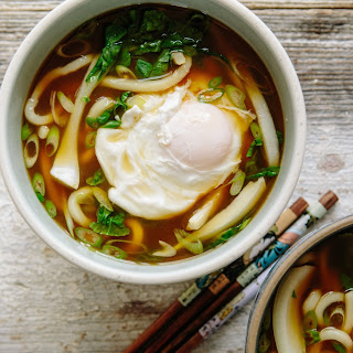 Udon Noodle Soup with Bok Choy and Poached Egg.