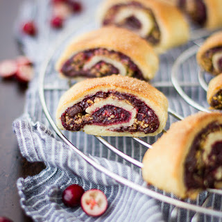 Gluten-Free Rugelach with Cranberry Port Jam, Chocolate, and Walnuts