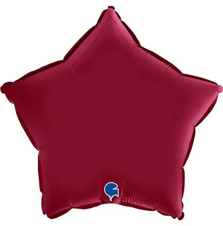Folieballong Stjärna Satin - cherry, 46 cm