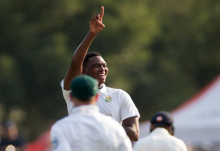 In fine form: Lungi Ngidi celebrates the dismissal of Parthiv Patel for his maiden Test wicket on Sunday. Picture: REUTERS
