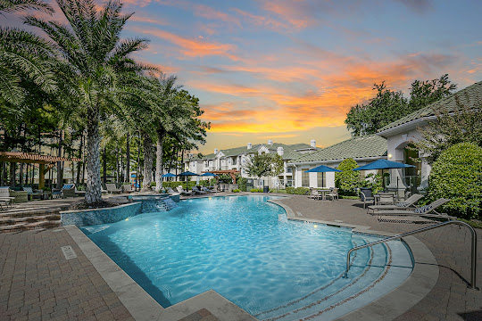 Chandler Park apartment swimming pool and lounge area