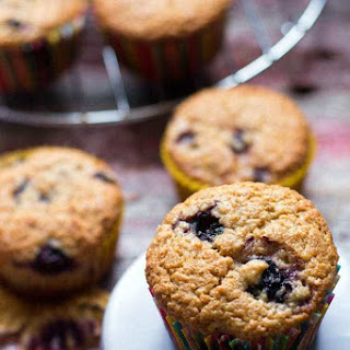 Spelt Flour Muffins with Saskatoons and Blueberries.