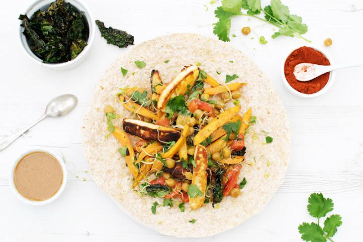 Sweet Potato & Chickpea Wrap with Kale Chips [vegetarian] [vegan ...