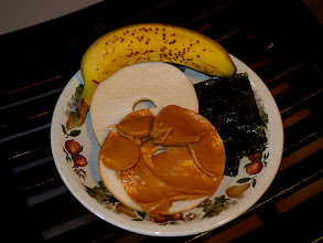 Photo: Peanut Butter, Bagel, Seaweed, and Banana