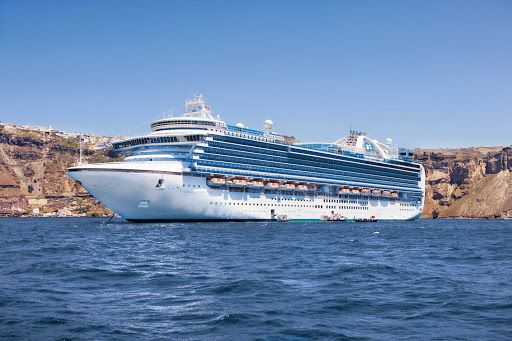 emerald-princess-in-santorini.jpg - Emerald Princess anchored in the water-filled caldera of Santorini, Greece.