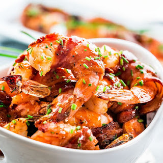 Maple BBQ Glazed Bacon Wrapped Shrimp.