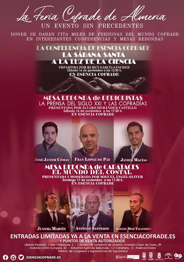 Cartel anunciador de las mesas redondas y conferencia en Esencia Cofrade.